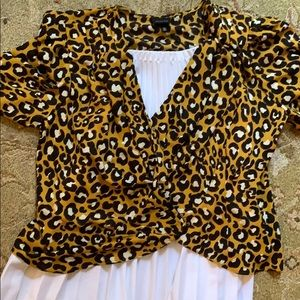 WHO WHAT WEAR new yellow leopard wrap blouse
